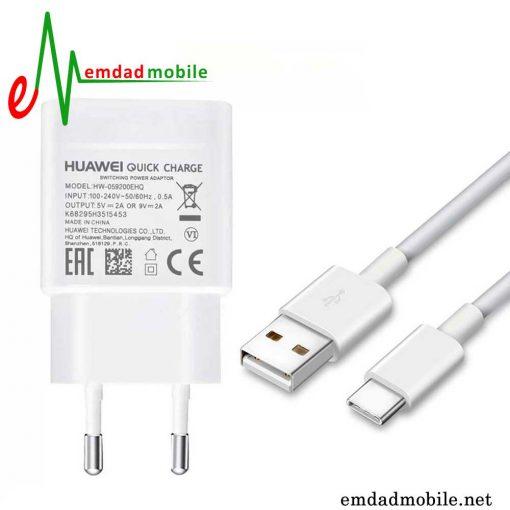 قیمت خرید شارژر، کابل شارژ و آداپتور فست شارژ تایپ سی اصلی هوآوی Huawei P20 Lite